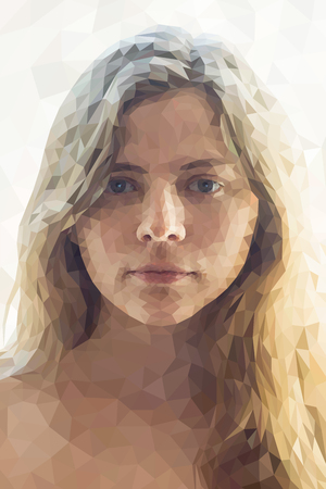 abstract portrait: Low poly abstract portrait of a girl. Abstract polygonal illustration.