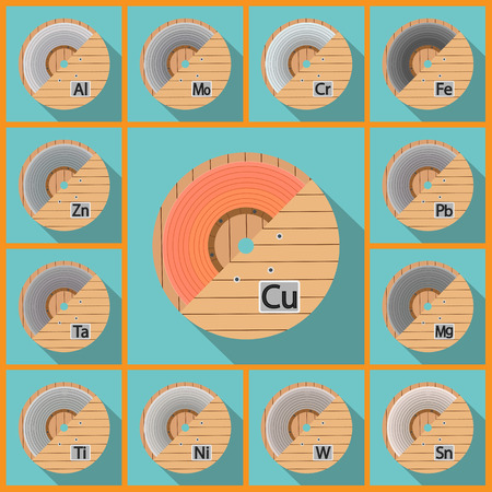 chromium sheet: Coil sheet. Vector illustration flat. metal board