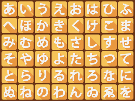 Vector Japanese hiragana alphabet. Vector flat illustration. 向量圖像