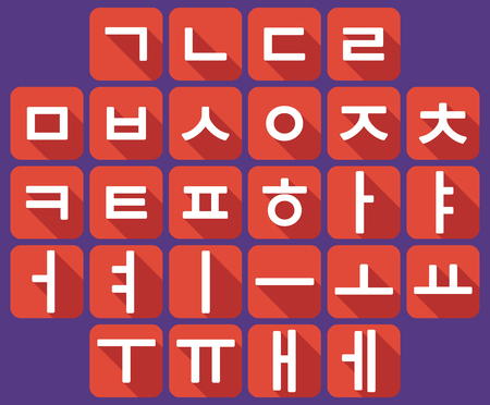 Vector Korean language alphabet. Vector flat design.