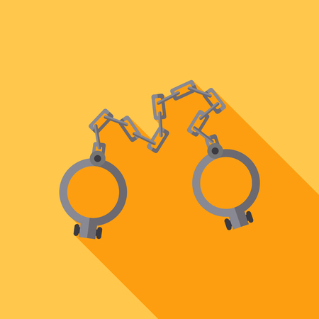 shackles: Old shackles. Closed. Vector flat design. icon