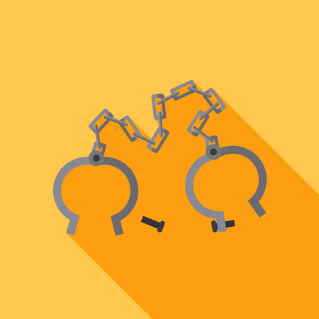 cuff link: Old shackles. Vector flat design. vector icon Illustration