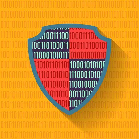 binary file: Flat icon data protection shield. Binary code. Vector flat illustration.