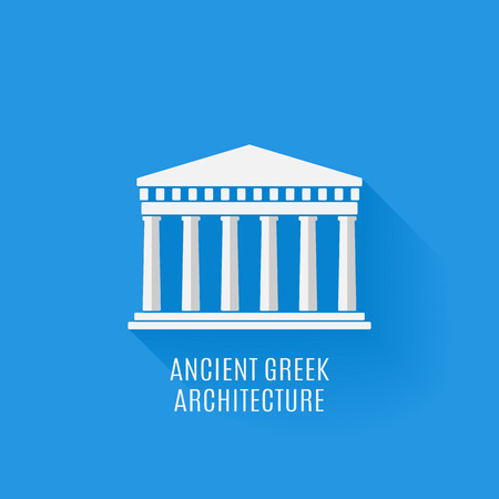 doric: Ancient Greek architecture. Icon. Vector flat illustration