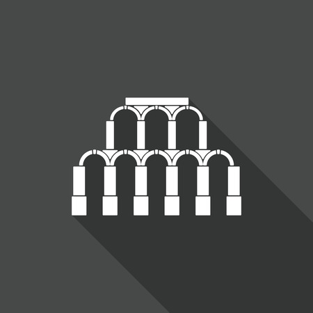 ancient roman: Ancient Roman architecture. Aqueduct Icon. Vector flat illustration