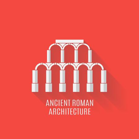 arquitecto caricatura: arquitectura romana antigua. Acueducto con las sombras largas. Vector ilustraci�n plana
