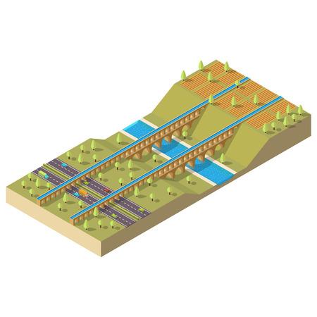 aqueduc isométrique sur la rivière. paysage isométrique Vecteurs