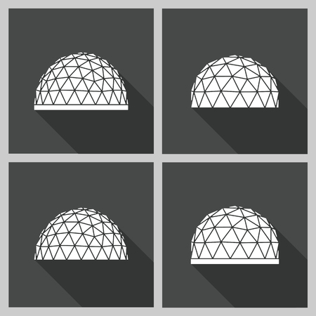 outdoor advertising construction: Abstract icon geodesic dome. Vector flat illustration. Illustration