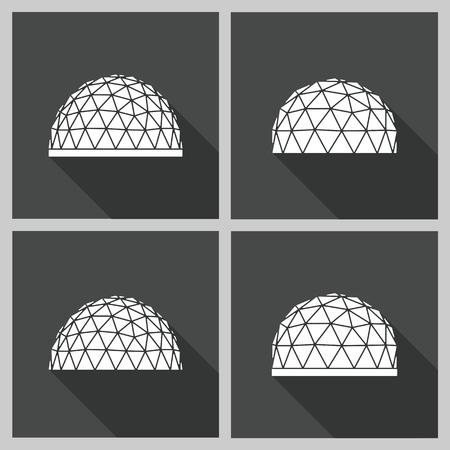abstracto icono cúpula geodésica. Vector ilustración plana.
