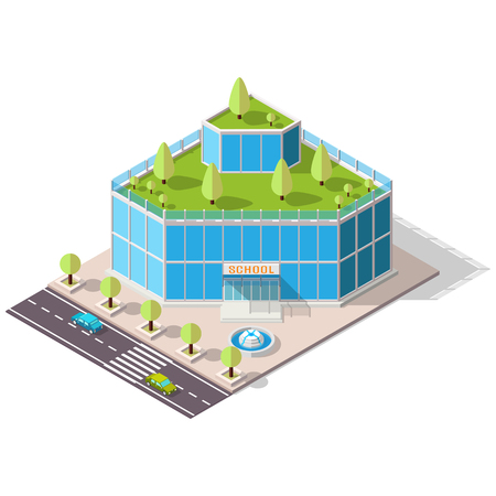 eco building: Vector isometric school or university building icon. Eco building with trees on the roof. High-tech architecture. Illustration