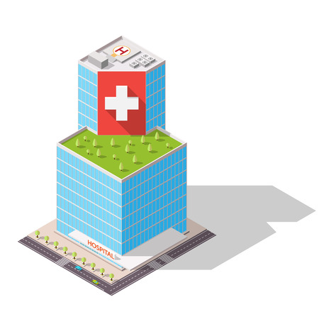 eco building: Vector isometric Hospital building icon. Eco building with trees on the roof. High-tech architecture.