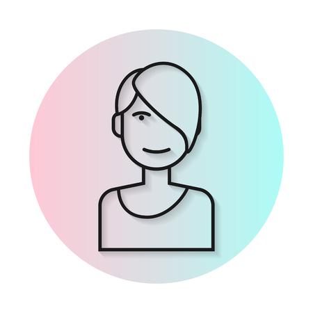 asymmetrical: Flat line icon hairstyle woman. Long straight shadow. Fashionable asymmetrical haircut. Vector flat illustration.