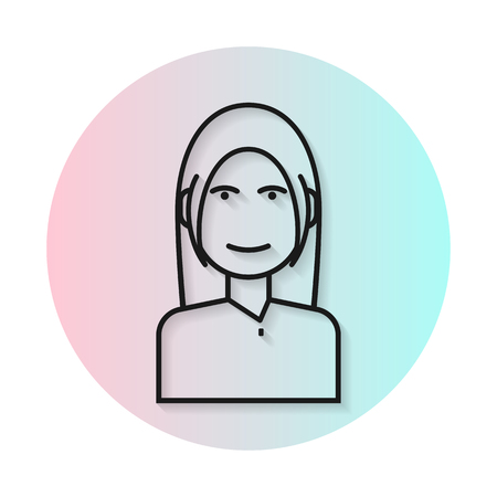 bangs: Flat line icon hairstyle woman. Gradient transparent shadow. Long hair with bangs. flat illustration. Illustration