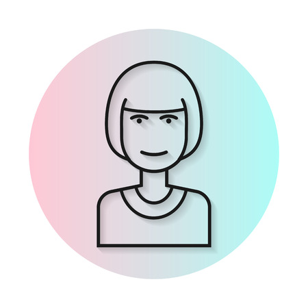 bangs: Flat line icon hairstyle woman. Gradient transparent shadow. Kare hairstyle, straight bangs. flat illustration. Illustration