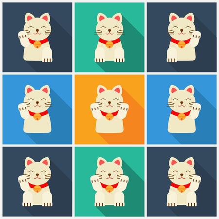 neko: Set Maneki-neko cat. flat illustration. neko
