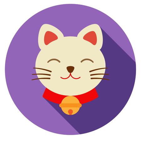 neko: Lucky cat icon. flat illustration. heko