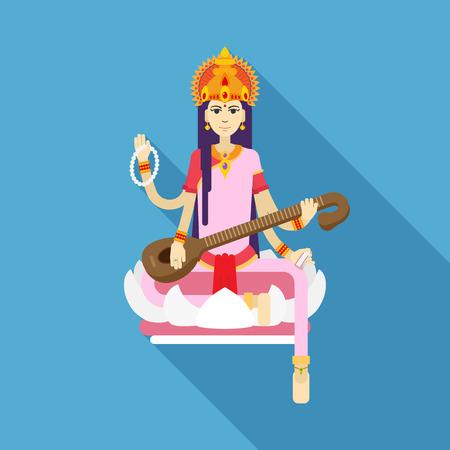 hindu goddess: Hindu Goddess Saraswati. Happy Vasant Panchami. flat illustration. Illustration