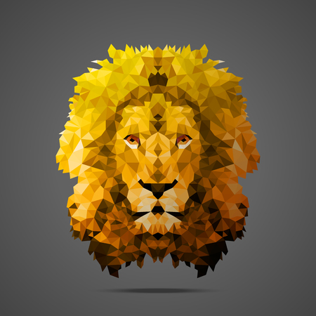 Lion low poly portrait. Gold gradient. Side light source. Abstract polygonal illustration.