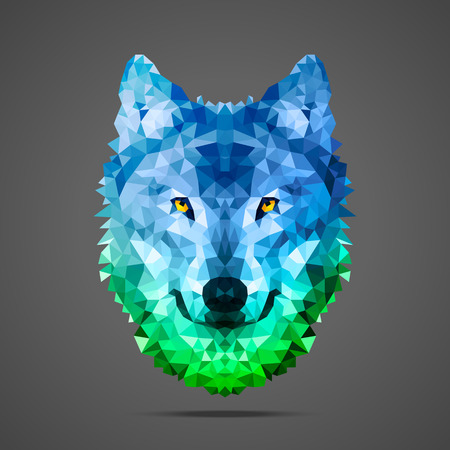 light source: Wolf low poly portrait. Gradient blue - green. Side light source. Abstract polygonal illustration.
