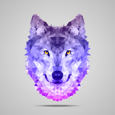 Wolf low poly portrait. Symmetric purple gradient. Abstract polygonal illustration. Иллюстрация