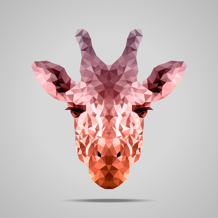 Giraffe low poly portrait. Gradient Voodoo - Stiletto - Raw Sienna. Abstract polygonal illustration. Illustration