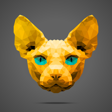 light source: Sphynx cat low poly portrait. Gold gradient. Side light source. Abstract polygonal illustration.