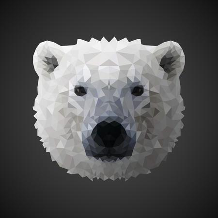 tundra: Polar bear portrait. Low poly design. Abstract polygonal illustration.