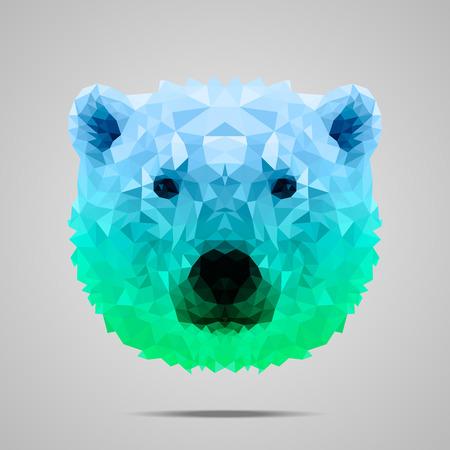 Polar bear low poly portrait. Symmetric blue - green gradient. Abstract polygonal illustration.