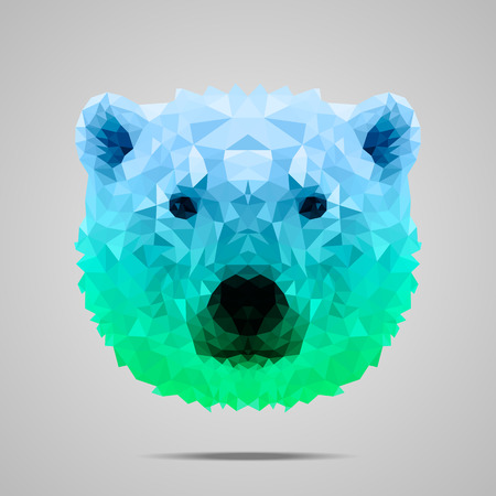 Polar bear low poly portrait. Symmetric blue - green gradient. Abstract polygonal illustration.