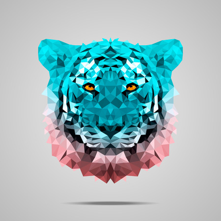 bengal: Bengal tiger low poly portrait. Symmetric gradient Rose Quartz - Limpet Shell. Abstract polygonal illustration.