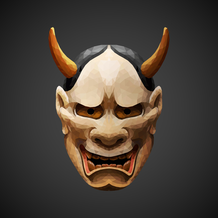 low poly mask Noh theater - Hannya. Side light source. Low poly design. Abstract polygonal illustration.