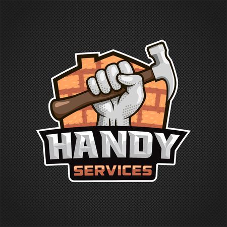 Moderne professionele handige diensten icoon met de hand houden hamer