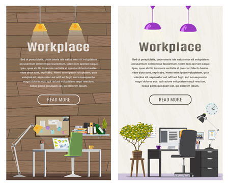 cartoon banner: Two banner for web design. Office theme. Workplace. Flat design illustration. Vertical banner.