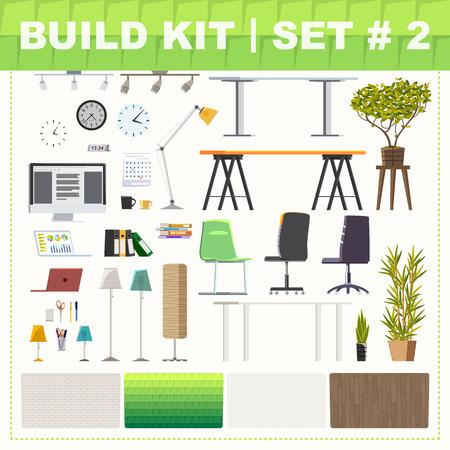 いくつかのオフィス家具と背景。キットを構築します。  イラスト・ベクター素材