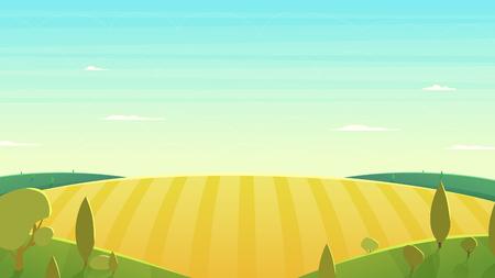 sorgo: Paisaje natural. estilo de ilustración de dibujos animados. Diseño plano
