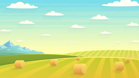 Natural landscape, hay field. Cartoon illustration style. Flat design Illustration