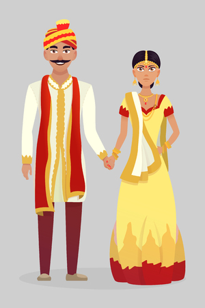 Cartoon Indian wedding couple. Vector illustration wedding. Illustration