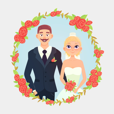 Cute cartoon wedding couple. Wedding couple with bouquet. Vector cartoon illustration of a wedding. Wedding floral frame with roses. Illustration