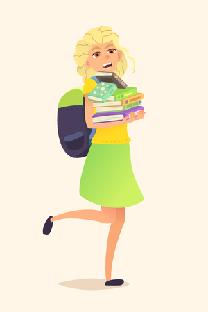blonde teenager: Schoolgirl with backpack and stack of books in his hands. Illustration of a cartoon character. Vector flat design.