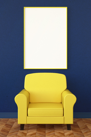 leather armchair: leather armchair and a poster Stock Photo