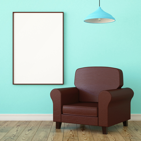 leather armchair: Mockup poster, leather armchair.