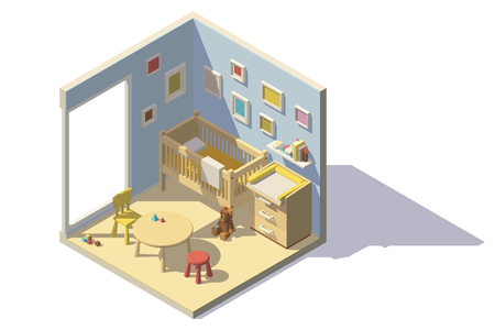 Sitio Del Bebé Con Cuna Interior Blanco Y El Cambio De Mesa Para La ...