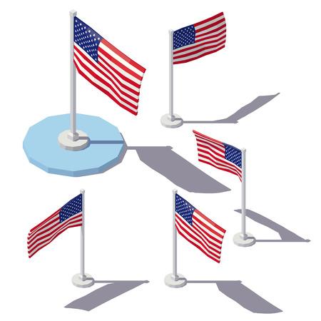 nationalism: Vector isometric low poly United States Flag. Illustration