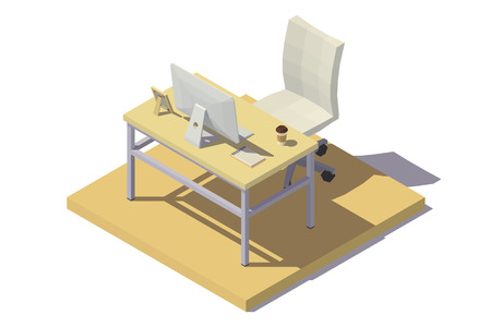 Isometric Office Workplace beige tones