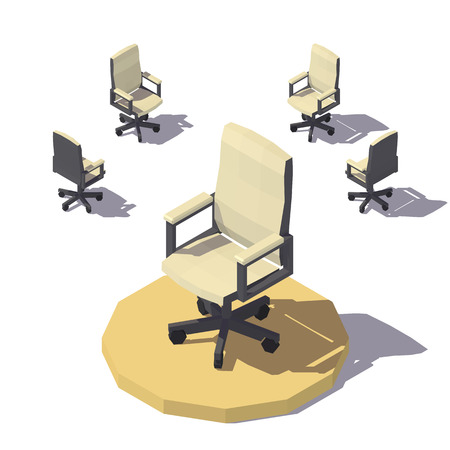 Vector isometric low poly Office chair. Vector flat illustration 向量圖像