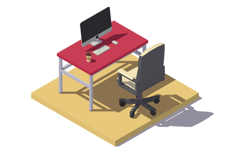 Vector isometric low poly Office Workplace. Vector flat illustration