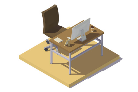 Vector isometric low poly Office Workplace in beige-brown tones.