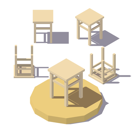 A Vector isometric low poly Stool. Vector flat illustration.