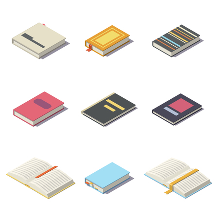 Vector Isometric books with shadows Çizim