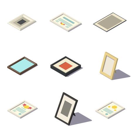modern interior: Vector Isometric Picture Frames Illustration
